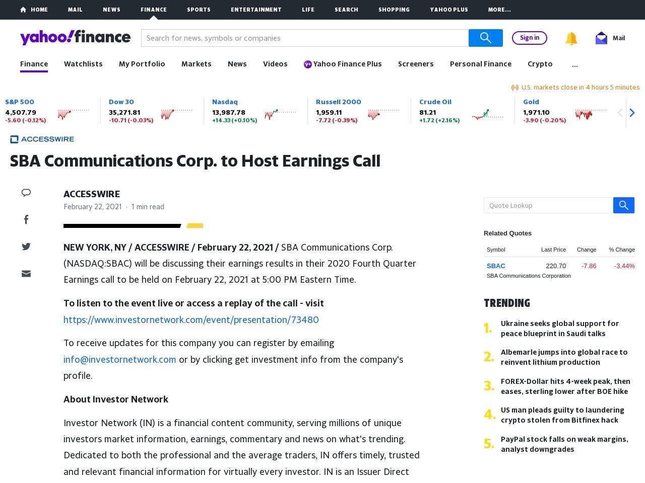 SBA Communications Corp. to Host Earnings Call – Yahoo Finance