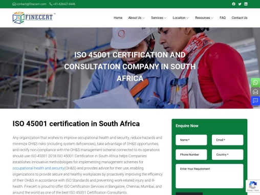 ISO 45001 Certification in South Africa