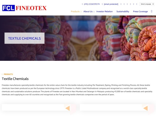 Fineotex manufactures specialty textile chemicals for the entire value chain for the textile industry