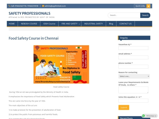 Food safety course in tamilnadu, Food safety inspector course