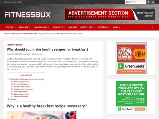 Why should you make healthy recipes for breakfast?