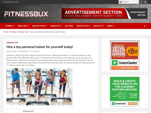 Hire a top personal trainer for yourself today!