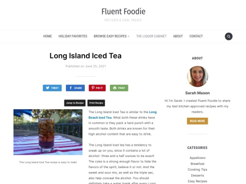 Long Island Iced Tea – Replacement of Coke and Spirits