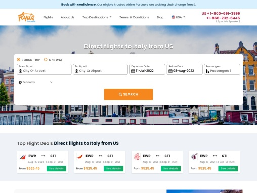 Direct flights to Italy from US – Book Now