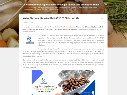Global Fish Meal Market will be US$ 10.65 Billion by 2026