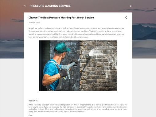 Choose The Best Pressure Washing Fort Worth Service