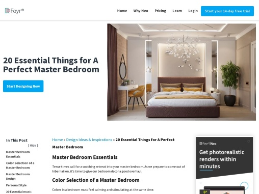 Essential things for master bedroom