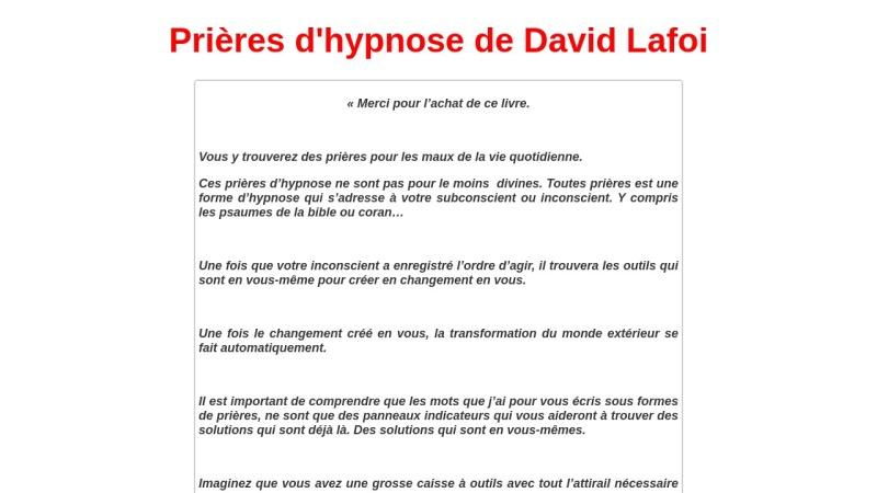 les prieres d'hypnose de david lafoi