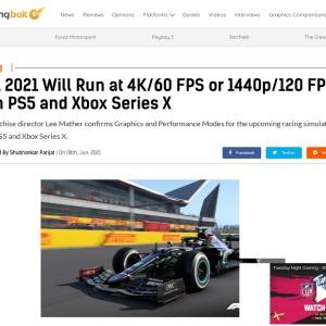 F1 2021 Will Run at 4K/60 FPS or 1440p/120 FPS on PS5 and Xbox Series X