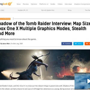Shadow of the Tomb Raider Interview: Map Size, Xbox One X Multiple Graphics Modes, Stealth And More
