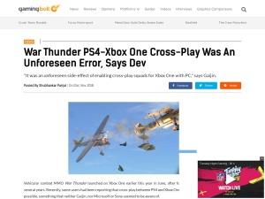 War Thunder PS4-Xbox One Cross-Play Was An Unforeseen Error, Says Dev