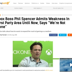 "Xbox Boss Phil Spencer Admits Weakness In First Party Area Until Now, Says ""We're Not Done"""