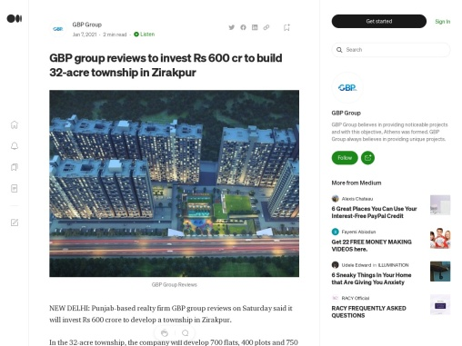 GBP group reviews to invest Rs 600 cr to build 32-acre township in Zirakpur