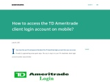 How to access TD Ameritrade login without error?