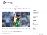 BCCI to host ICC T20 World Cup 2021 in UAE & Oman