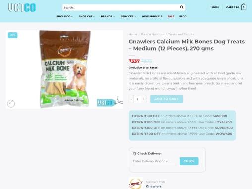 Gnawlers Calcium Milk Bones Dog Treats – Medium (12 Pieces)