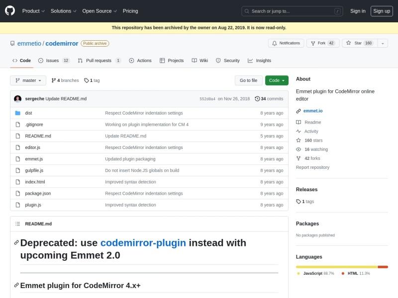 emmetio/codemirror | CodeMirrorにEmmet機能を追加するプラグイン