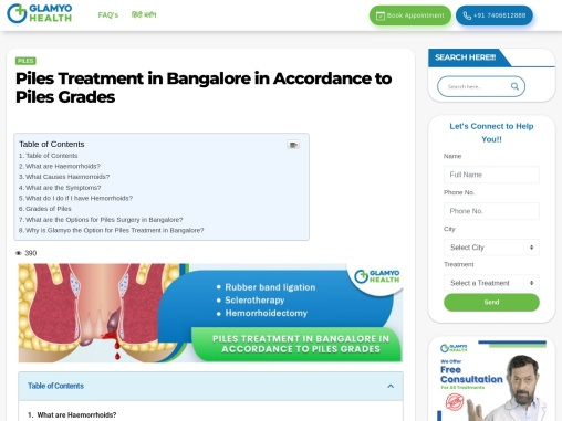 Piles Treatment in Bangalore in Accordance to Piles Grades