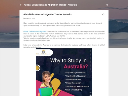 Global Education and Migration Trends- Australia
