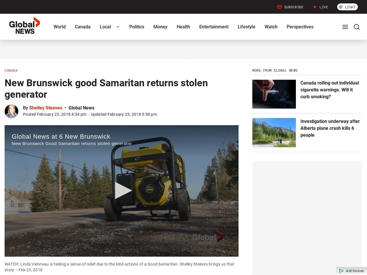 New Brunswick good Samaritan returns stolen generator