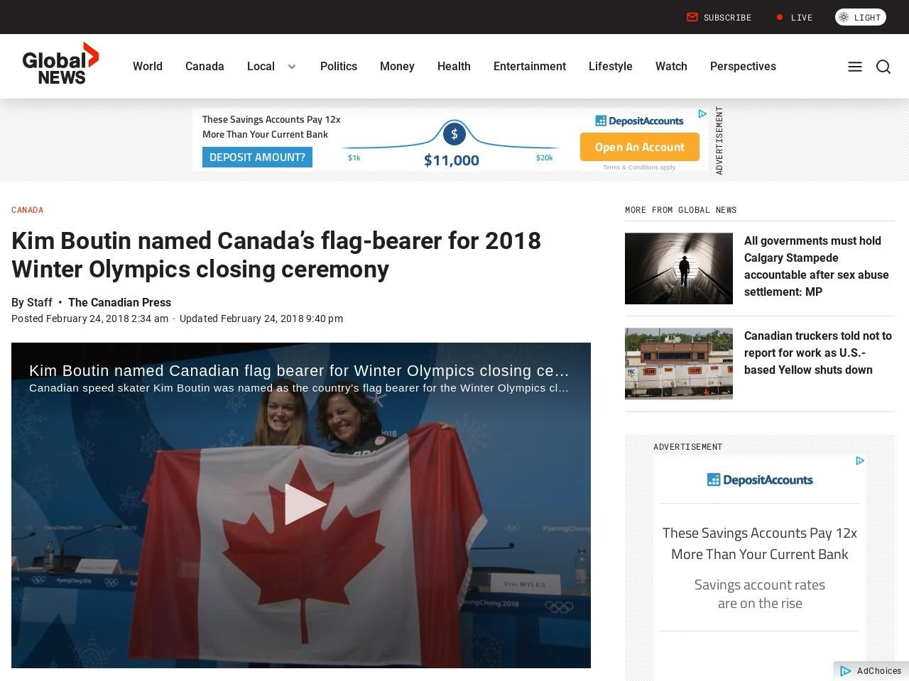 Kim Boutin named Canada's flag-bearer for 2018 Winter Olympics closing ceremony