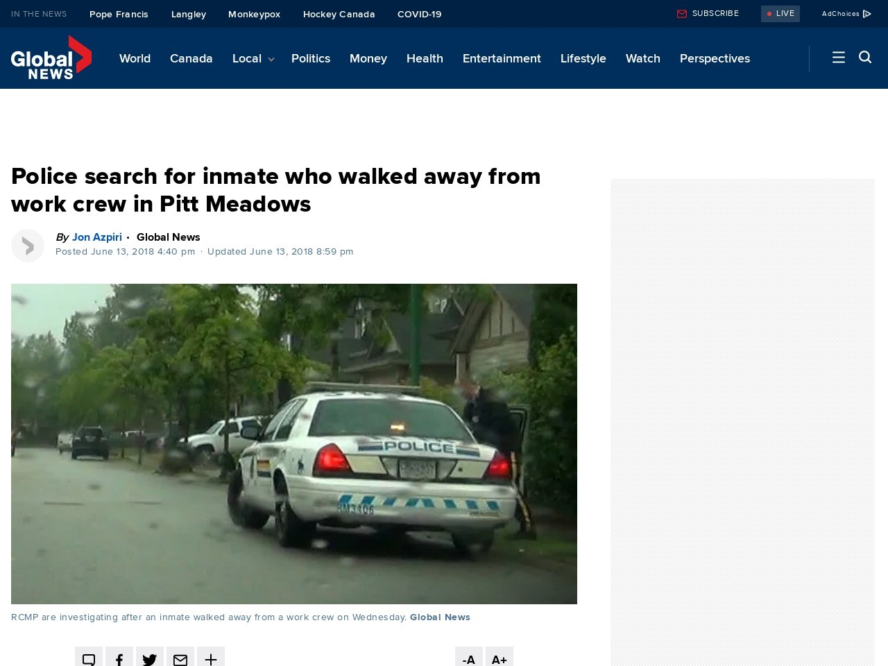 Police search for inmate who walked away from work crew in Pitt Meadows