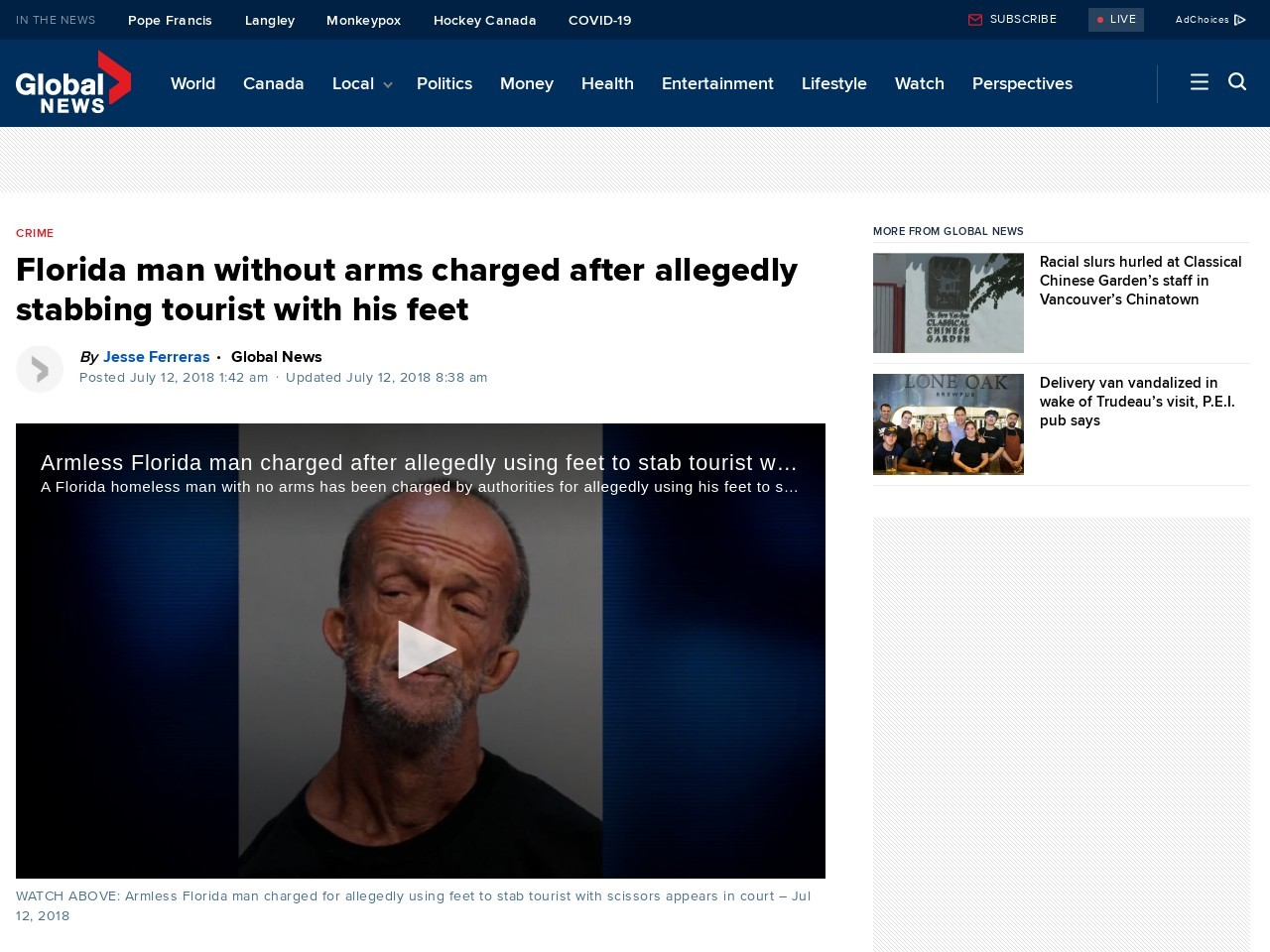 Florida man without arms charged after allegedly stabbing tourist with his feet