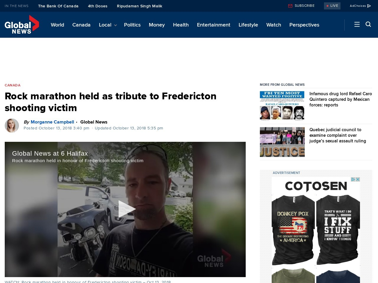 Rock marathon held as tribute to Fredericton shooting victim