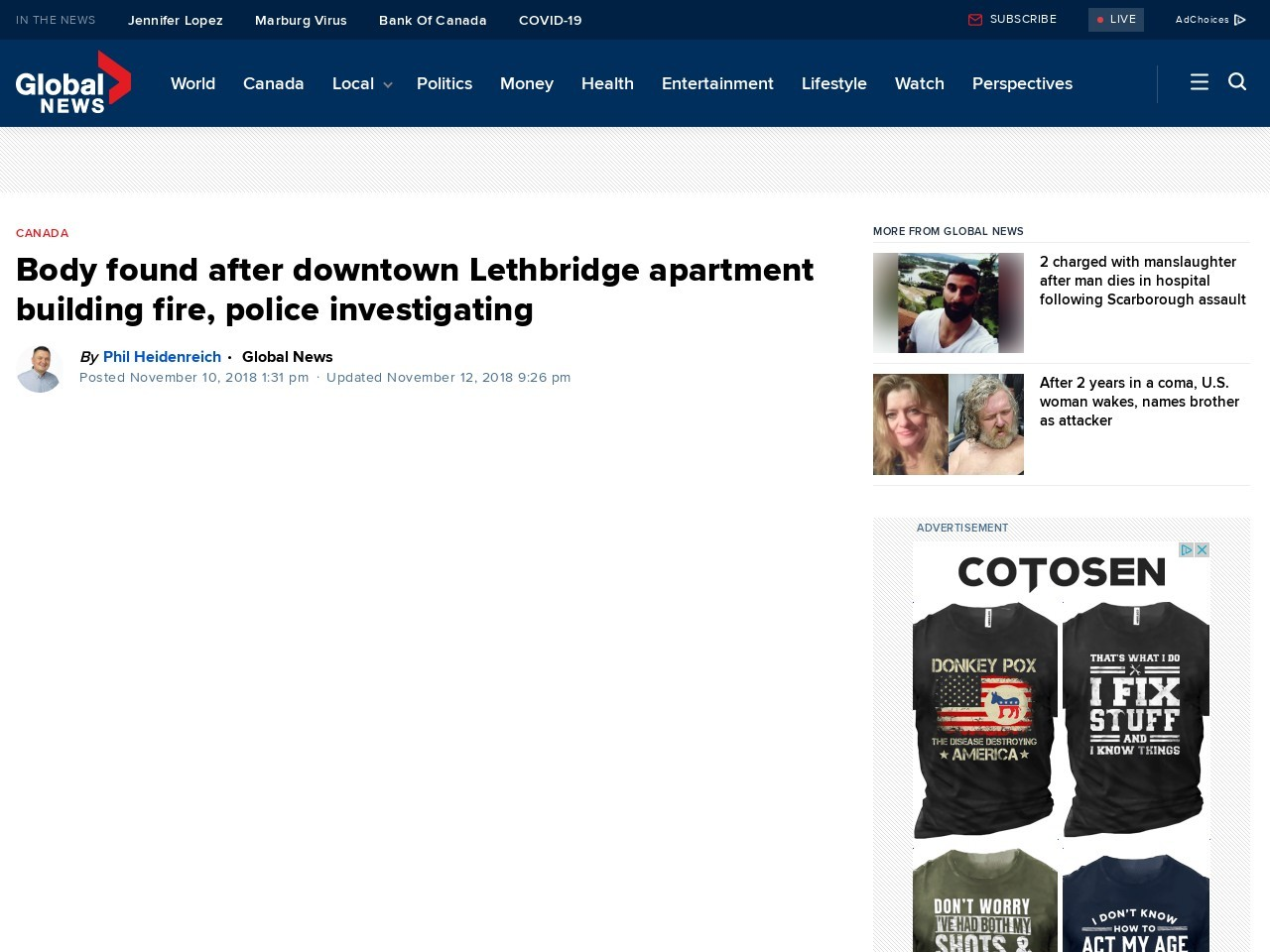 Body found after downtown Lethbridge apartment building fire, police investigating