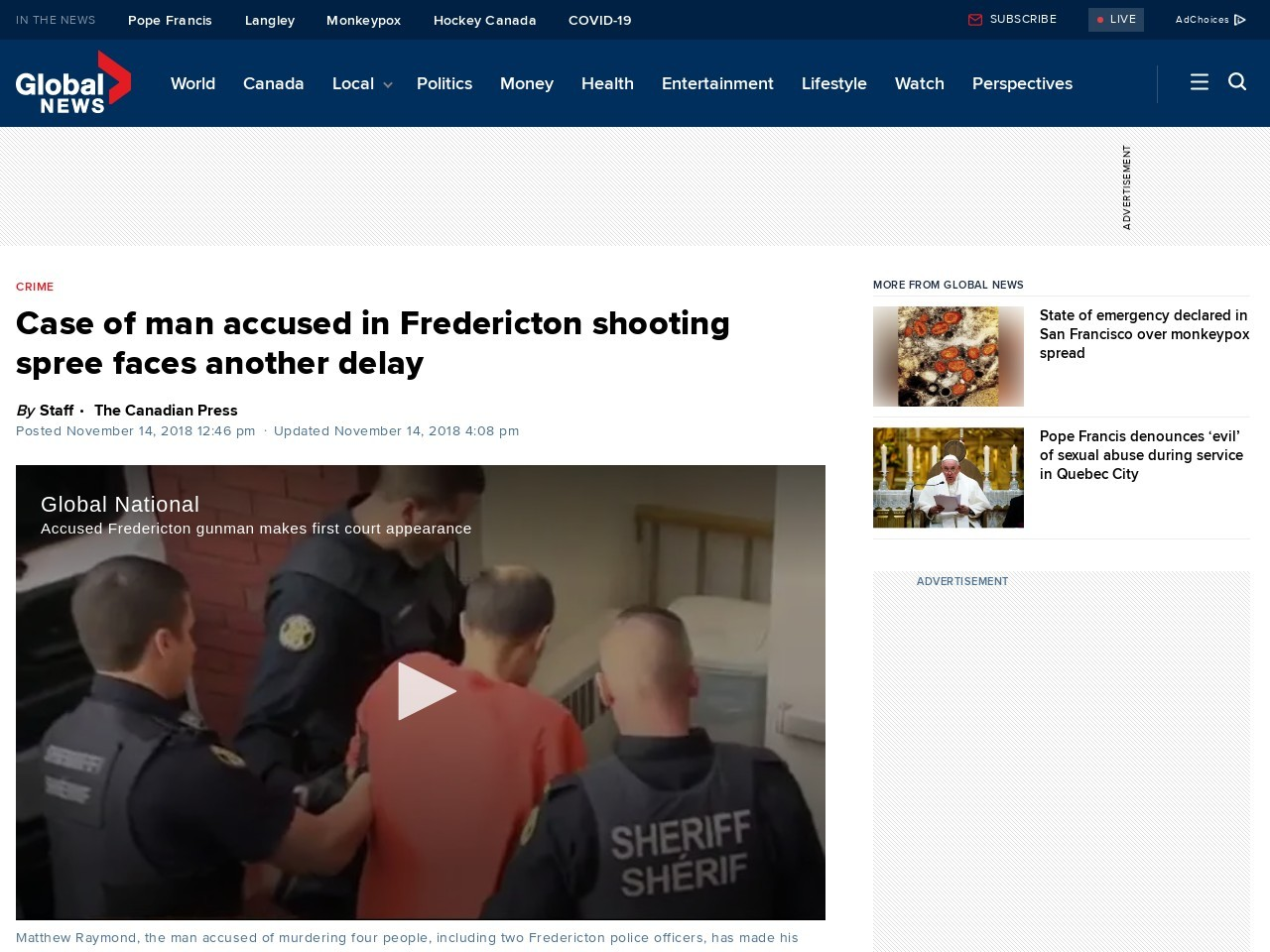 Case of man accused in Fredericton shooting spree faces another delay