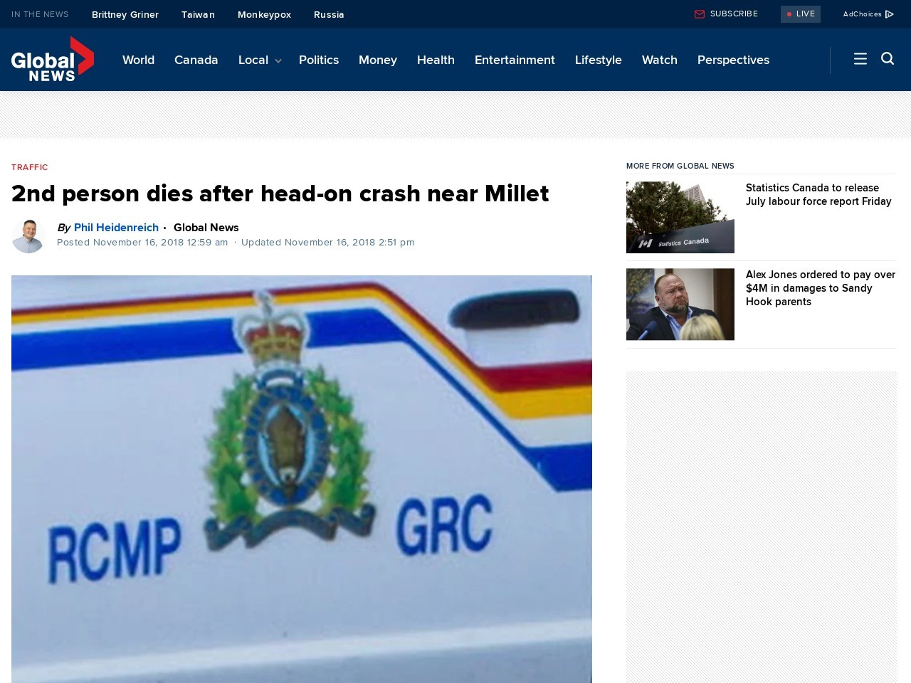 1 person dead, 2 taken to hospital after head-on crash near Millet