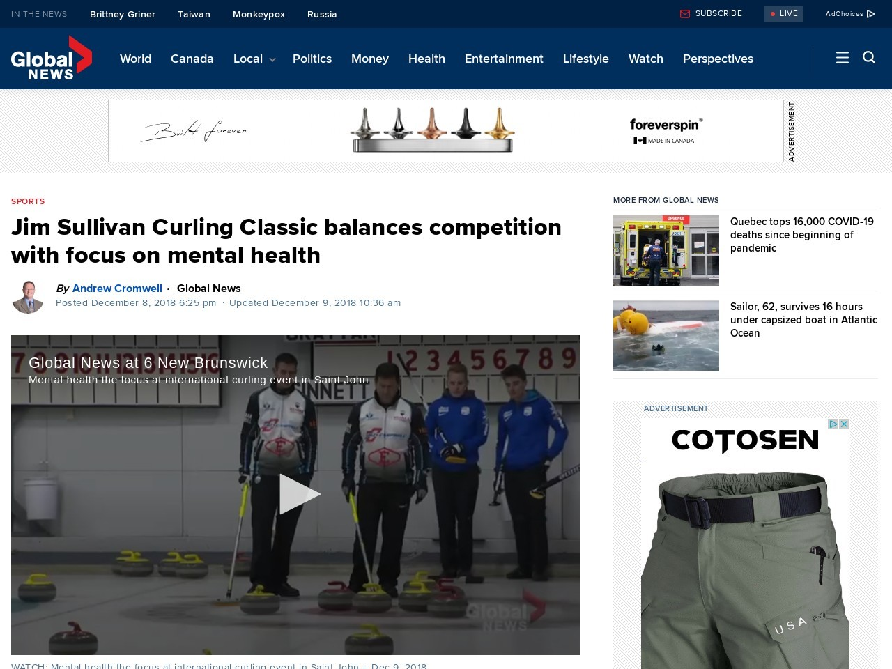 Jim Sullivan Curling Classic balances competition with focus on mental health