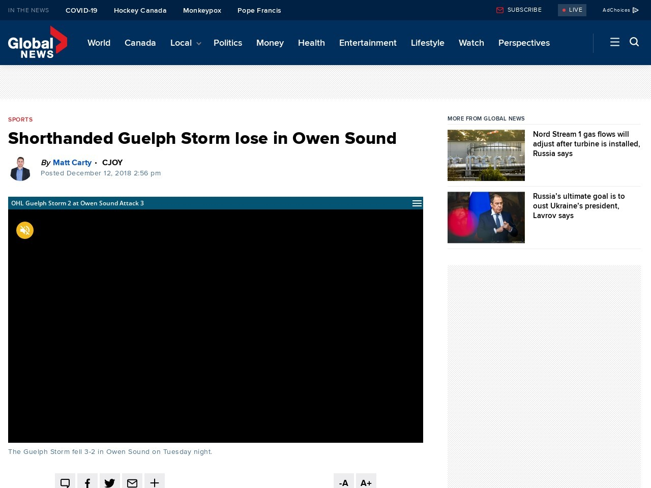 Shorthanded Guelph Storm lose in Owen Sound