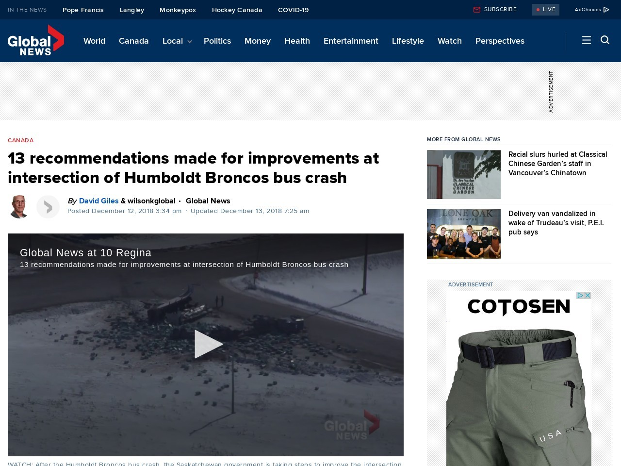 13 recommendations made for improvements at intersection of Humboldt Broncos bus crash