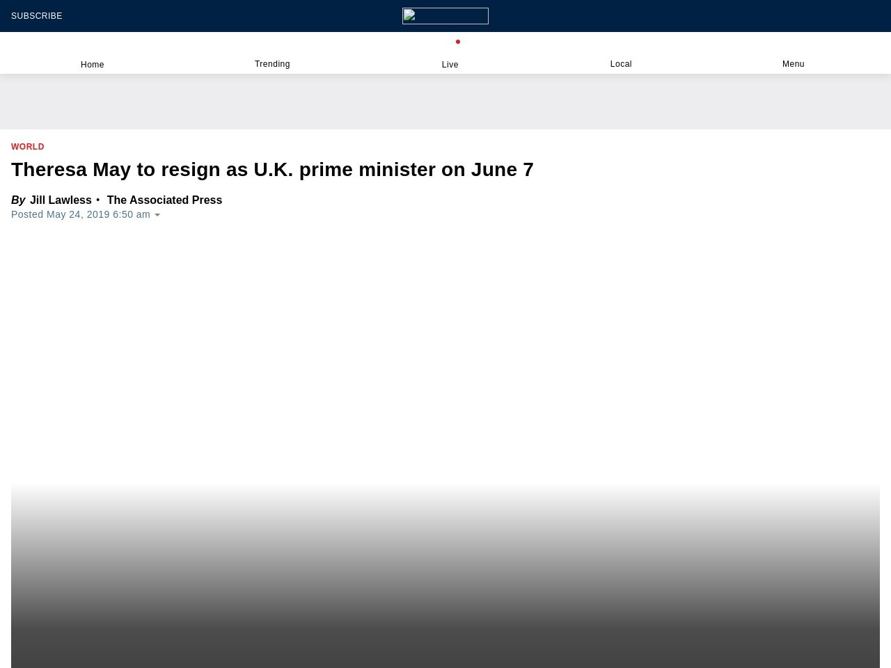 Theresa May to resign as U.K. prime minister on June 7