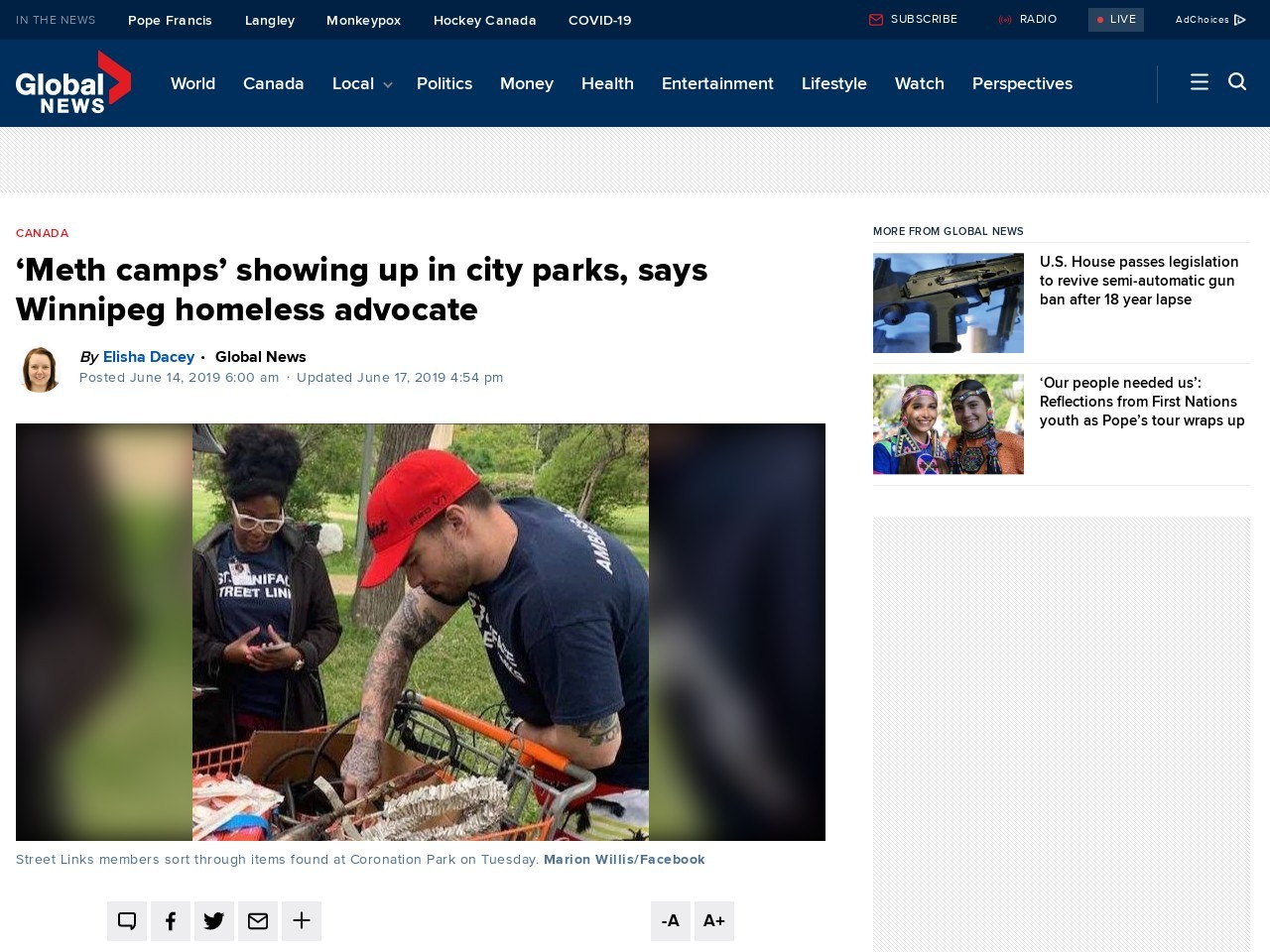 'Meth camps' showing up in city parks, says Winnipeg homeless advocate