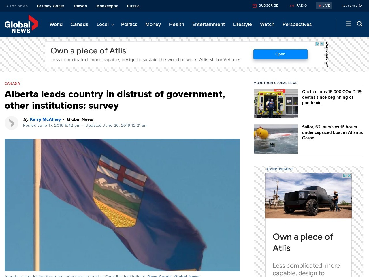 Alberta leads country in distrust of government, other institutions: survey
