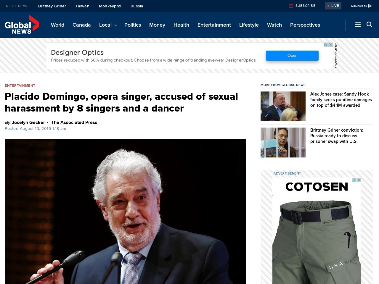 Placido Domingo, opera singer, accused of sexual harassment by 8 singers and a dancer
