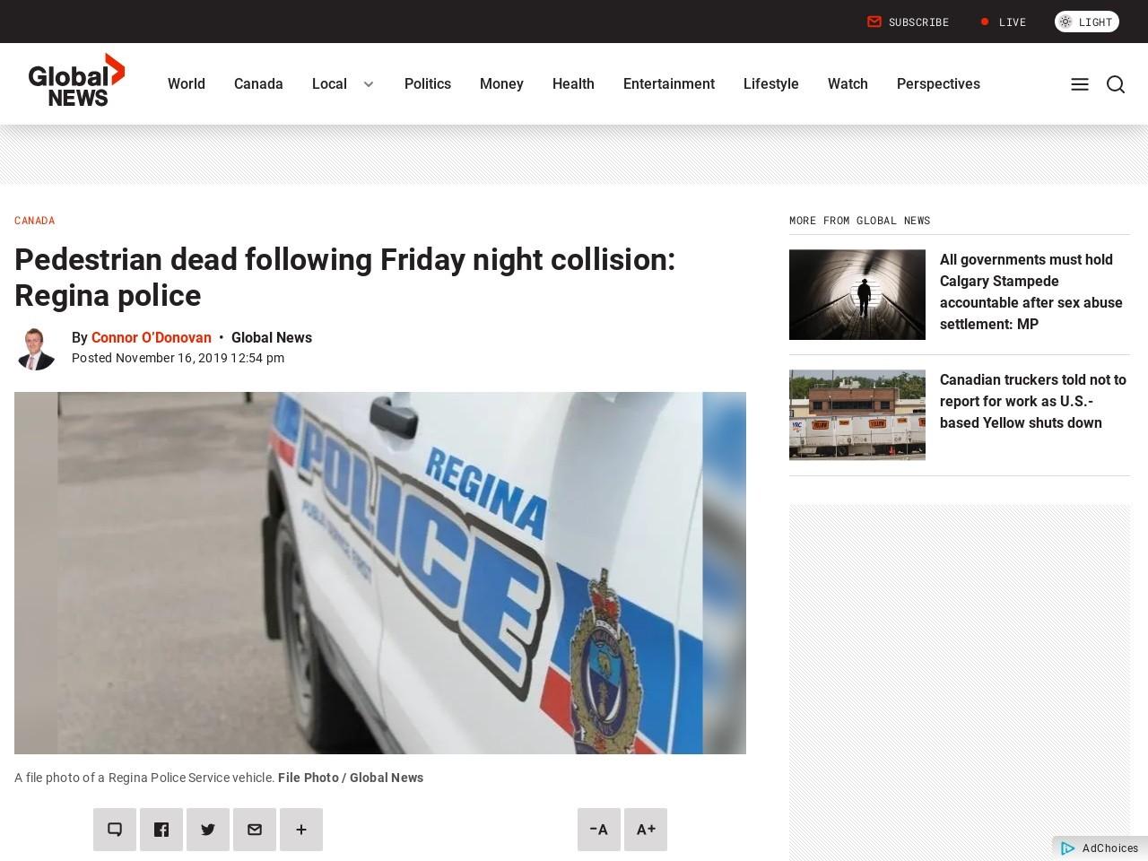 Pedestrian dead following Friday night collision: Regina police