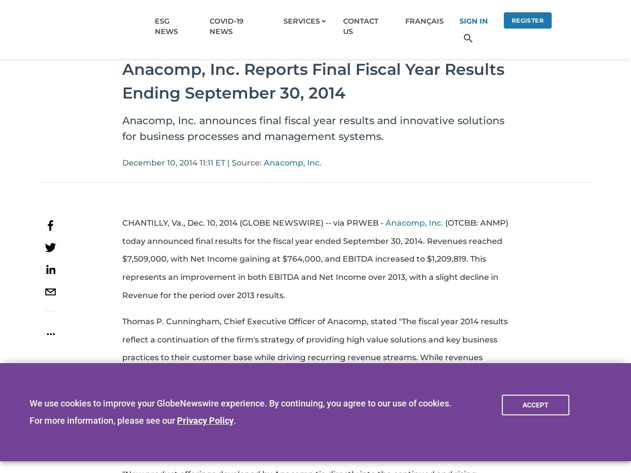 Anacomp, Inc. Reports Final Fiscal Year Results Ending September 30, 2014