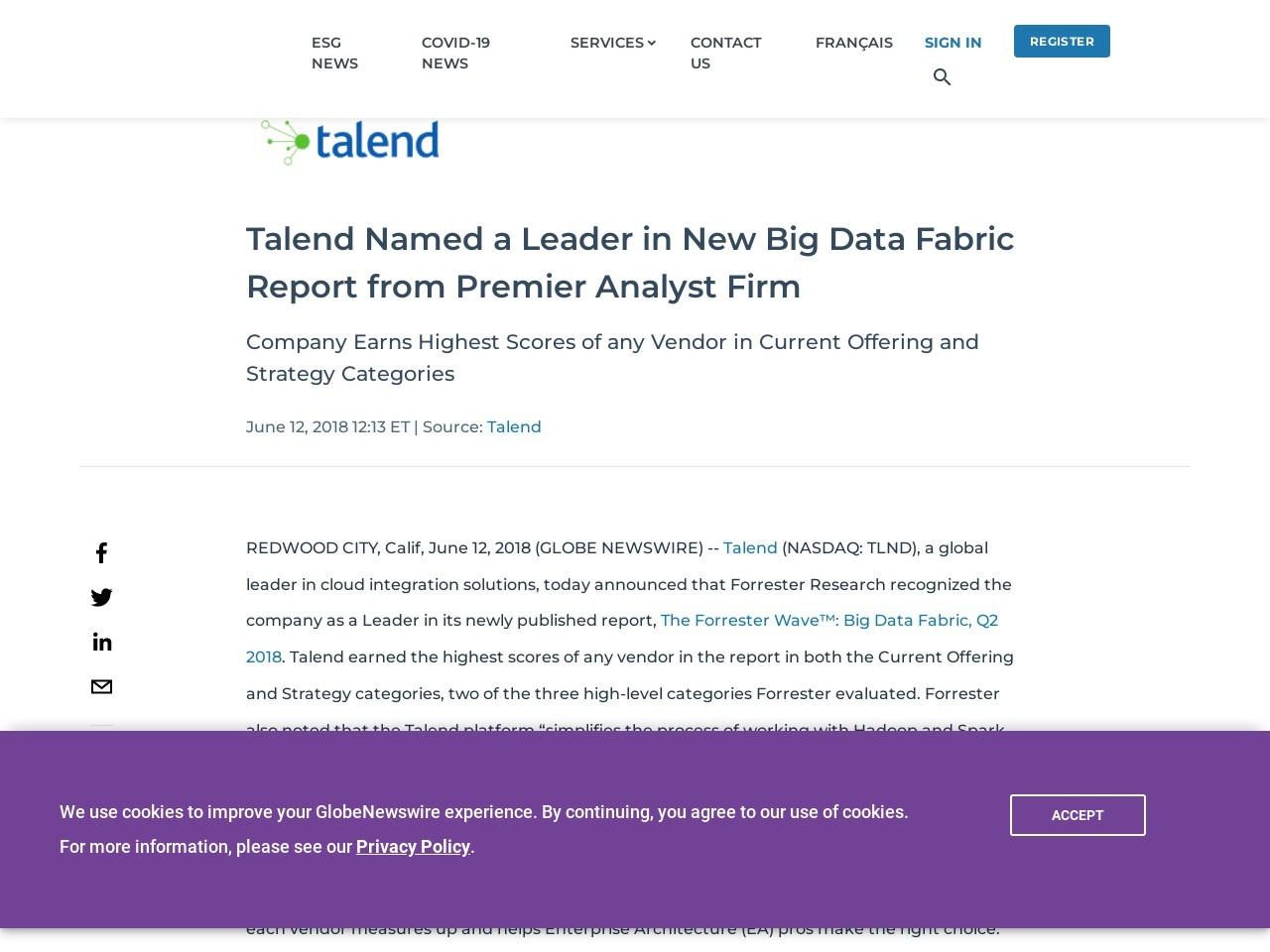 Talend Named a Leader in New Big Data Fabric Report from Premier Analyst Firm