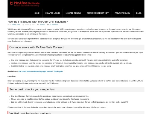 How do I fix issues with McAfee VPN solutions?
