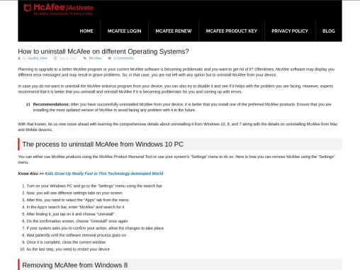 How to uninstall McAfee on different Operating Systems?