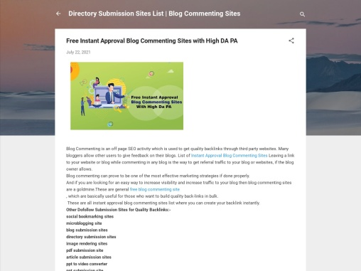 Free Instant Approval Blog Commenting Sites with High DA PA
