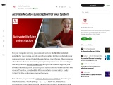 Activate McAfee subscription for your System
