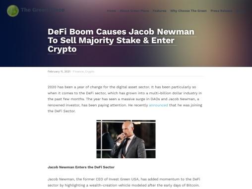 DeFi Boom Causes Jacob Newman To Enter Crypto