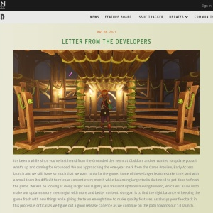 Letter from the Developers   Grounded