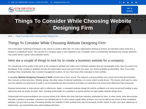 Things To Consider While Choosing Website Designing Firm