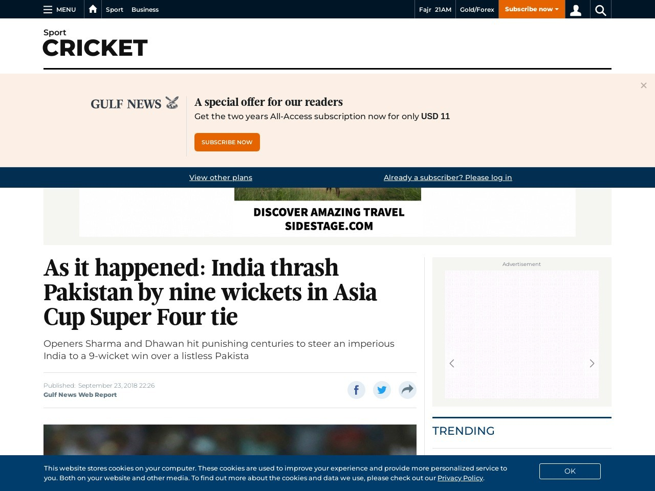 As it occurred: India thrash Pakistan by nine wickets in Asia Cup…