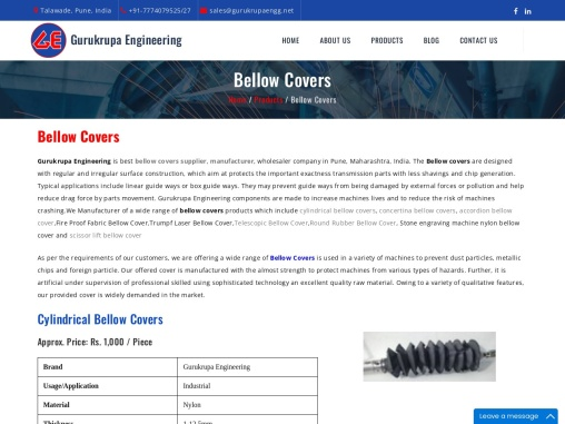 Bellow Cover Manufacturer | Bellow Cover Manufacturer in Pune